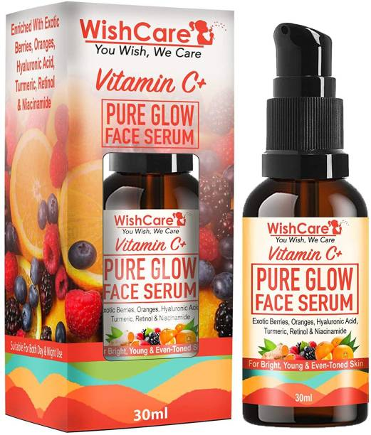 WishCare Vitamin C+ Pure Glow Face Serum - With Hyaluronic Acid, Retinol, Niacinamide, Oranges, Berries & Turmeric - For Glowing, Bright, Young and Even Toned Skin