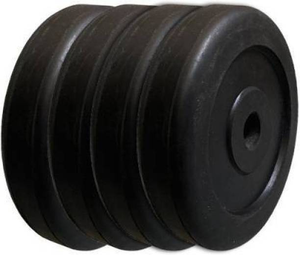 Kiraro 2Kg x4pcs Good Quality Rubber Plates With 28mm Hole For Home/Commercial Gym (8Kg) Black Weight Plate