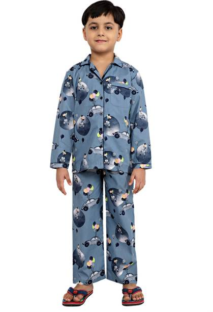 Ninos Dreams Kids Nightwear Boys Graphic Print Cotton Viscose Blend