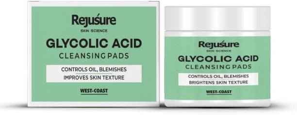Rejusure Glycolic Acid Cleansing Pads - Controls Oil, Blemishes Brightens Skin Texture - 50 Pads Makeup Remover