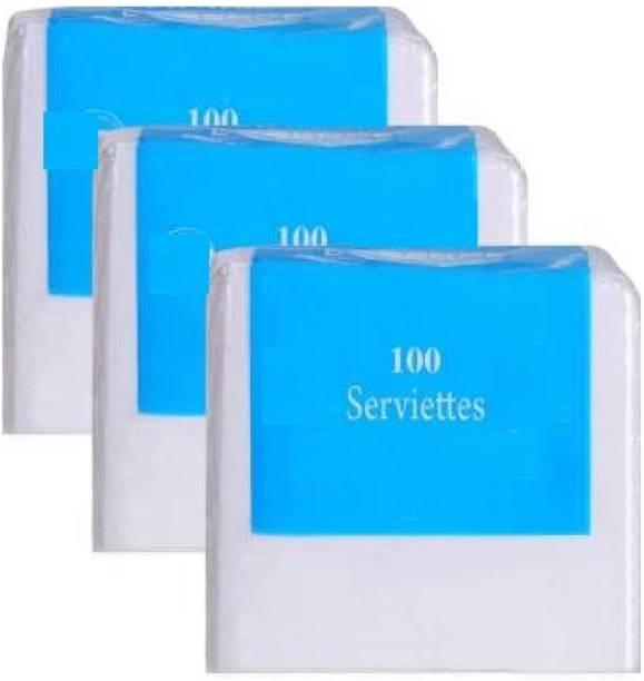 Modi Household Plain Tissue Paper Napkins, 33x33 cm, 2 Ply (Pack of 3, 50 Napkins per Pack) White Napkins