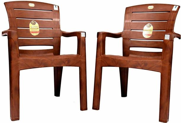 Anmol Moulded Jaguar High Back Chair Strong Structure Build Chair for Home, Garden, Office, Outdoor (Set of 2) Brown Plastic Outdoor Chair (3 Years Warranty) Weight Bearing Capacity 200 kgs Plastic Outdoor Chair Plastic Outdoor Chair