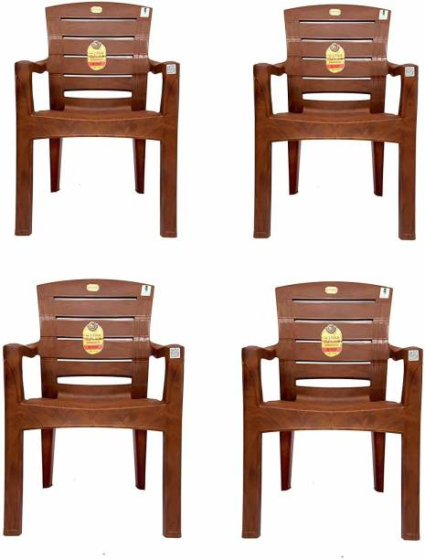 Anmol Moulded Jaguar High Back Chair Strong Structure Build Chair for Home, Garden, Office, Outdoor (Set of 4) Brown Plastic Outdoor Chair Plastic Outdoor Chair