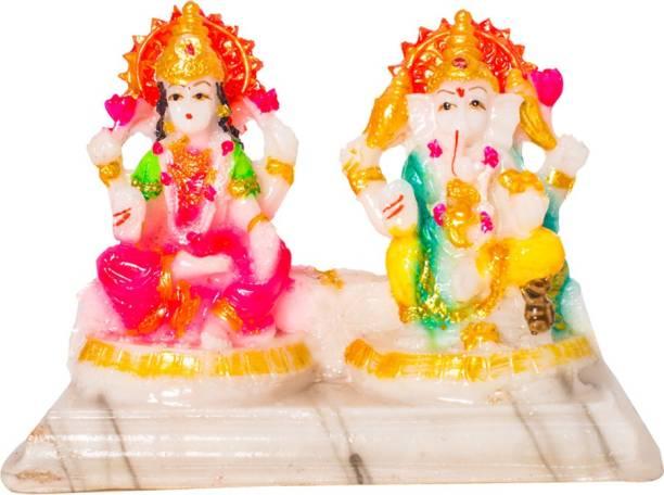 Kitlyn Marble Finish Lord Laxmi Ganesh Statue Goddess Laxmi & God Ganesh Idol Decorative Spiritual Puja Vastu Figurine - Diwali Puja Decorative Showpiece  -  11 cm