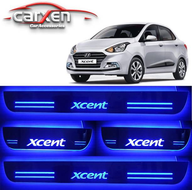 carxen Car Door Foot Step Led Sill Plate With Mirror Finish for compatible with Xcent (Set of 4PCS, Blue) Door Sill Plate Door Sill Plate