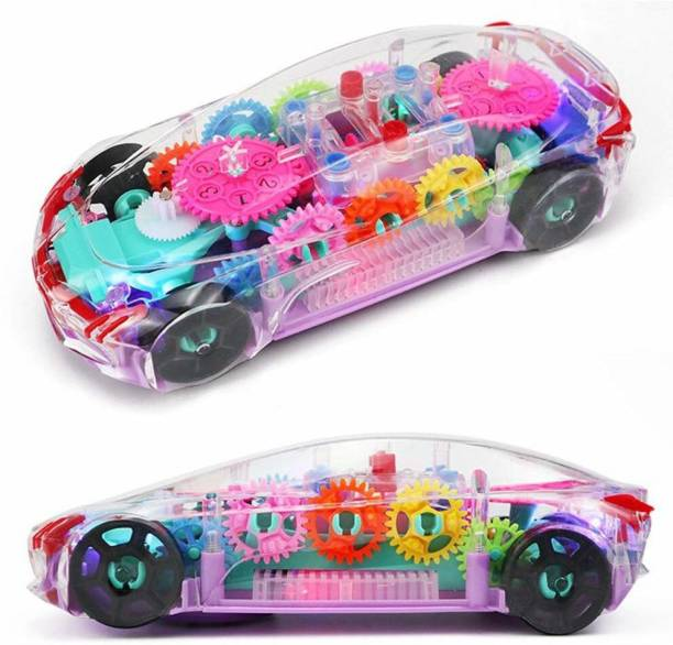 Neel 360 Degree Rotating Transparent Gear Concept Car with Lights Sound Toy