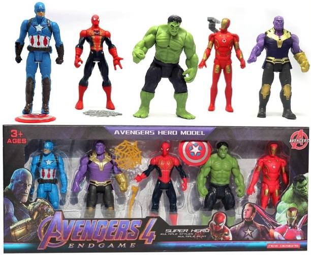 Authfort Avengers Endgame Action Figure of 5 Super Heroes Captain America , Iron man , Spiderman , Hulk and Thanos Action Figure
