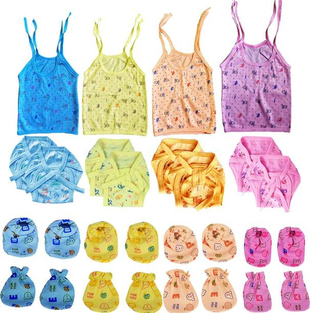 Bigbought New Born Baby Care Cloth Set Combo (Set Of 20, Jhabla, Nappy, Mittens, Hosiery Material, Random Print (Multicolor)