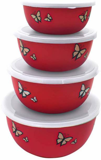 MAGSWAY Microwave Safe Stainless Steel Bowl Set of 4 with Lid for Your Kitchen | Steel Container to Storage Food, Serving, Reheating and Refrigerating in Fridge (Red Butterfly Print Set of 4) Plastic, Stainless Steel Disposable Vegetable Bowl