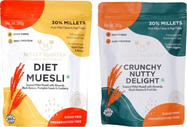 Millet Mantra Diet Muesli and Crunchy Nutty pack of 2