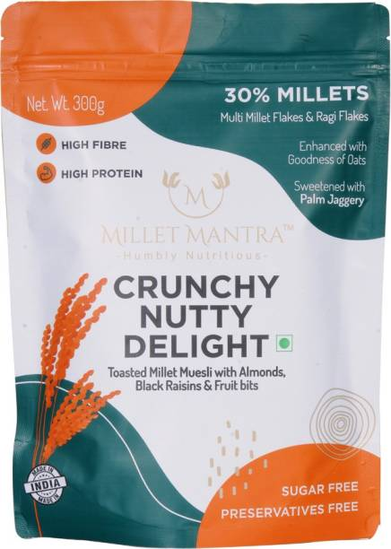 Millet Mantra Crunchy Nutty Delight With Flakes, Oats, ragi, Almond & real Fruit