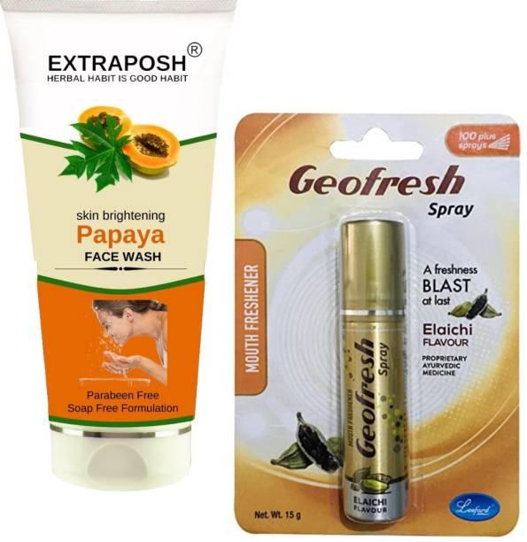 Extraposh Papaya Face Wash + Geofresh Elaichi Mouth Spray