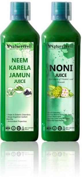 Naturewell Organics Neem Karela Jamun/Noni for Building Immunity and Digestion Booster Natural (Combo)
