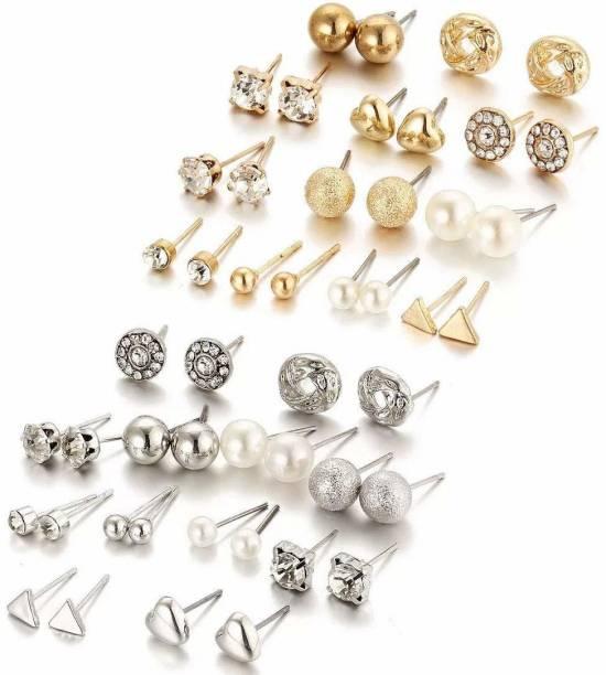 YouBella Stylish Latest Design Ear rings combo of 24 Pair Earings Jewellery Alloy Earring Set
