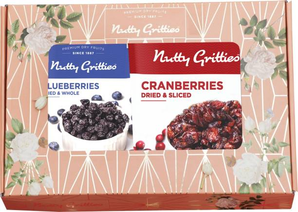 Nutty Gritties Signature Festive Gift Box - US Dried Cranberries and Dried Blueberries Combo