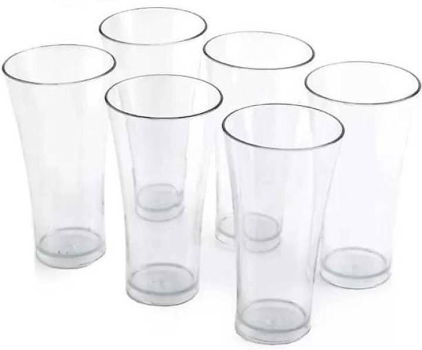Mahadev Enterprise (Pack of 6) (Pack of 6) 6 Pcs. Unbreakable Transparent Water, Juice, Cold Drinks Glass Set 300 Ml High Grade Poly Carbonate Plastic Glasses Glass Set (300 ml, Plastic) Glass