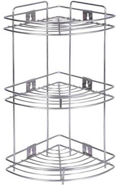 """OC9 Stainless Steel Multipurpose Corner Rack/Stand/Shelf for Kitchen and bathroom Wall Shelf 9"""" X 9"""" X 20"""" Inch Containers Kitchen Rack"""