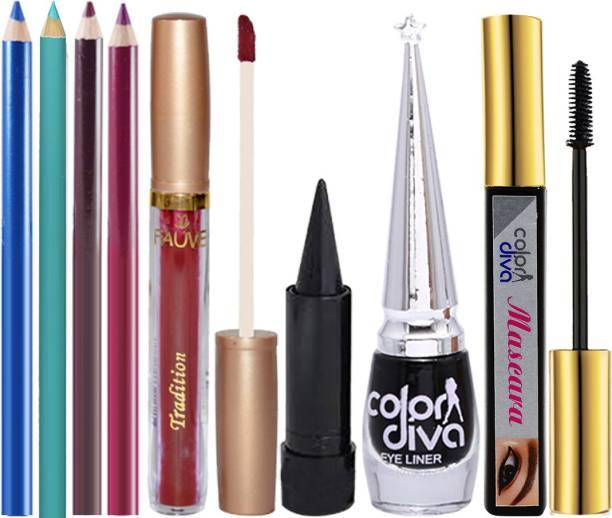 Color Diva Beauty Gudgets In My Purse 4pc Eye & Lipliner, 1pc Sindoor, 1pc Kajal