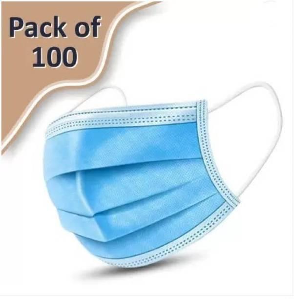 Soho 100 Units Mask 3 Ply Surgical Mask (100 Piece) Surgical Mask (Blue, Free Size, Pack of 100, 3 Ply) Surgical Mask With Melt Blown Fabric Layer
