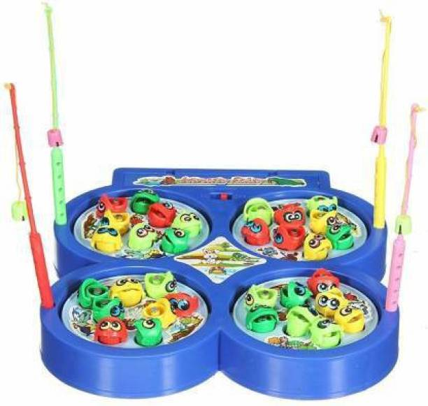 SWARA COLLECTION Fishing Game for Kids, Musical Fish Catching Games for Kids, Include 32 Pieces Fishes and 4 Fishing Rod (Blue)