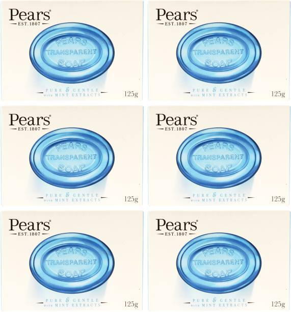 Pears Imported (Made in UK) Pure & Gentle With Mint Extracts 125g (750 g, Pack of 6)