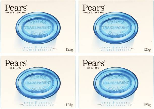 Pears Imported (Made in UK) Pure & Gentle With Mint Extracts 125g (500 g, Pack of 4)