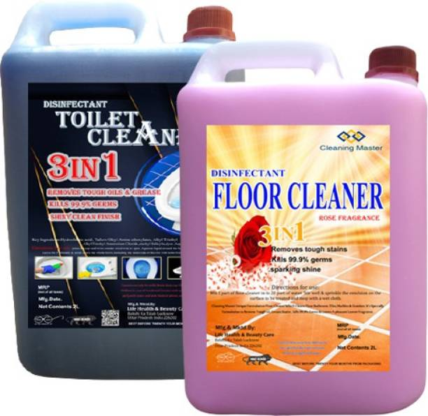 Cleaning Master Disinfectant Toilet Cleaner & Floor Cleaner WITH Rose Fragrance Combo Pack of 2 (2*2) Rose Liquid Toilet Cleaner