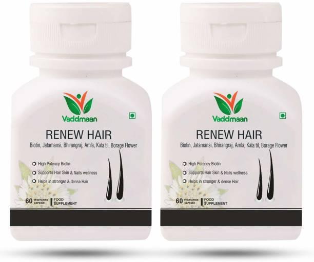vaddmaan Renew Hair - 60 Capsules, Pack of 2| Hair, skin, Nails wellness | Biotin 10000 mcg