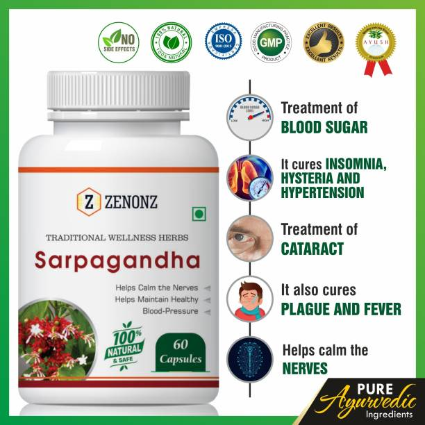 zenonz Sarpagandha Herbal Capsules For Useful in High Blood Pressure & Insomnia 100% Ayurvedic (60 Capsules)