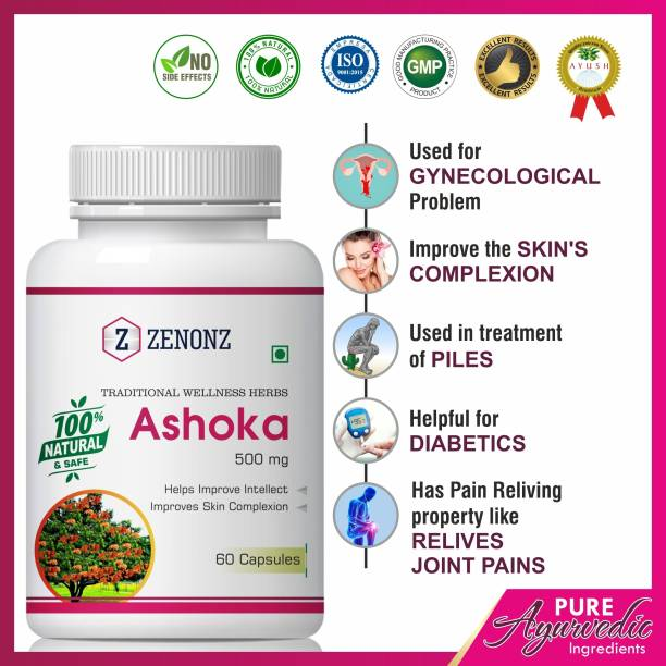 zenonz Ashoka Herbal Capsules For Helps To Remove White Discharge