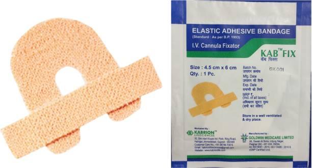 KABRION KAB FIX Elastic Adhesive I.V. Cannula Fixator Bandage (4.5 x 6 cm) Pack of 100 Crepe Bandage