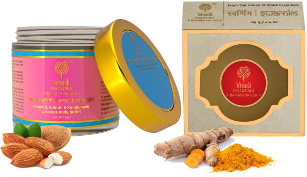 Khadi Essentials Combo of Kumkumadi Body Butter 100gm + Swarnim Bath Bar 125gm for Skin Whitening