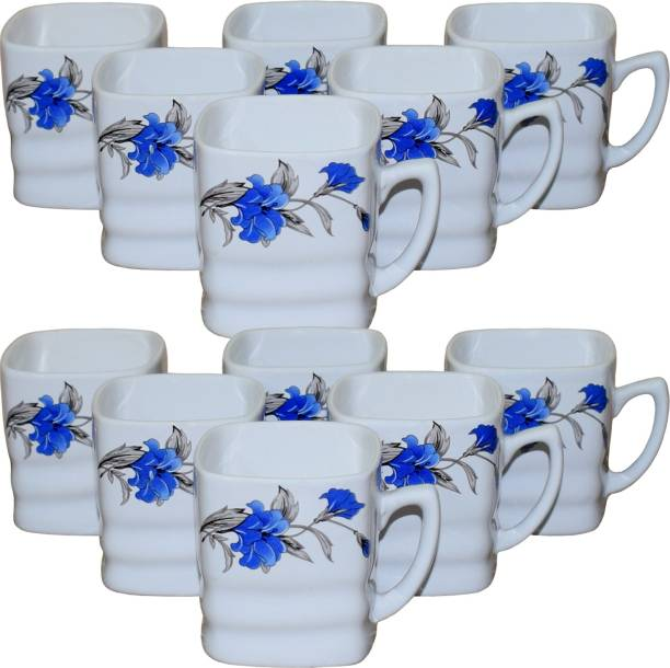 KC Somny Pack of 12 Ceramic Floral Print Coffee Cup & Tea Cup Set of 12 (AE1CKD) 120ml