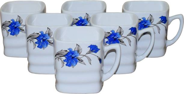 KC Somny Pack of 6 Ceramic Floral Print Coffee Cup & Tea Cup Set of 6 (AE1CK) 120ml