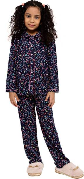 Ninos Dreams Kids Nightwear Girls Floral Print, Printed Hosiery