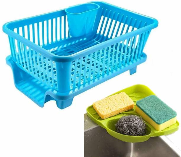 BONIRY 3 in 1 Kitchen Sink Dish Rack Drainer Drying Rack Washing Basket with Tray for Kitchen, Dish Rack Organizers, Utensils Tools Cutlery (Blue) Dish Drainer Kitchen Rack