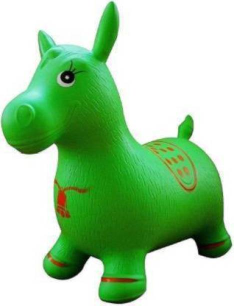 Tricolor Inflatable Jumping & Bouncer Riding Horse Animal Toy for kids (Red)