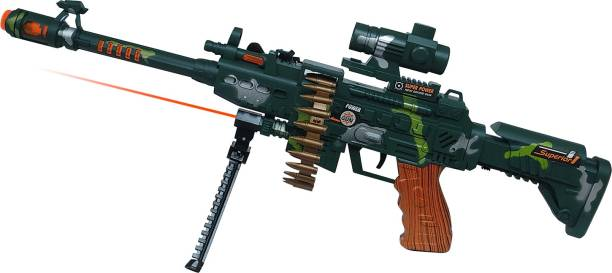 Miss & Chief oy Machine Gun with Scope, Stand and Carrying Strap Flashing Lights, Sounds and Unique Revolving Rounds For Kids Guns & Darts