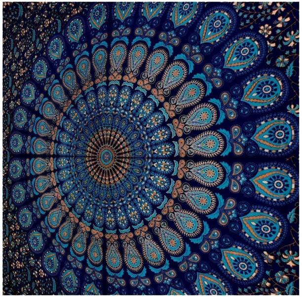 DKLifestyles Blue Twin Mandala Tapestry Wall Hanging Indian Cotton Tapestries Bedspread Picnic Beach Throw Blanket Wall Art Hippie Tapestry Bed Cover (Blue, Twin) Blue Twin Mandala Tapestry Tapestry