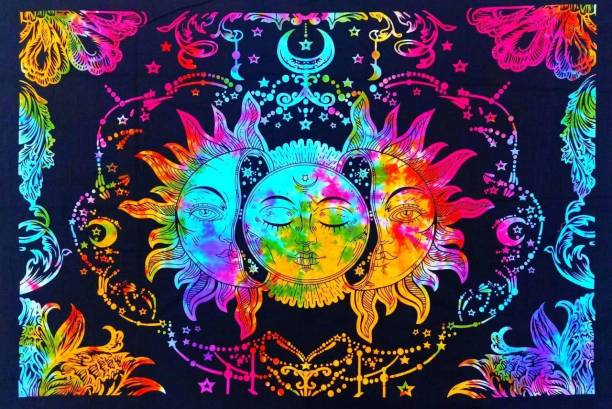 Heyrumbh Handicrafts Tripple Sun Moon and Star Mandala Hippie Psychedelic Boho Bohemian Cotton Decorative Wall Hanging Tapestry Poster 40 X 30 Inches Tapestry