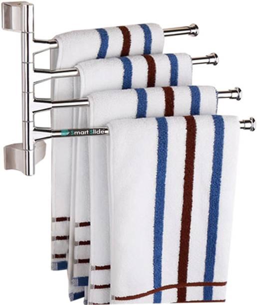 SMART SLIDE Stainless Steel 4-Arm Swing Towel Rod - Towel Bar - Wall Mounted Swivel Towel Bar - Cloth Holder - Towel Stand - Towel Hanger - Bathroom Accessories for Kitchen & Bathroom 8.26 inch 4 Bar Towel Rod