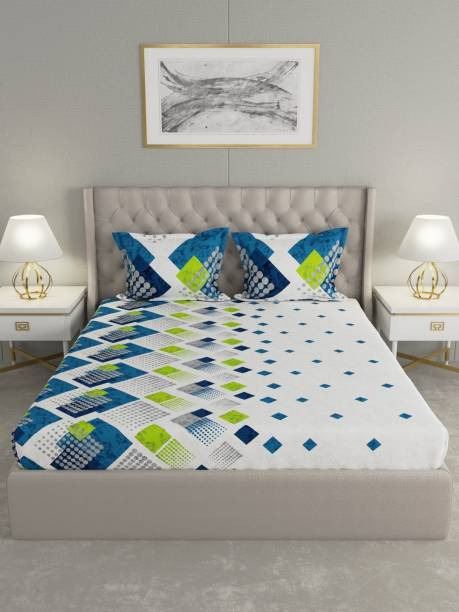 Raymond Home 144 TC Cotton Double Geometric Bedsheet