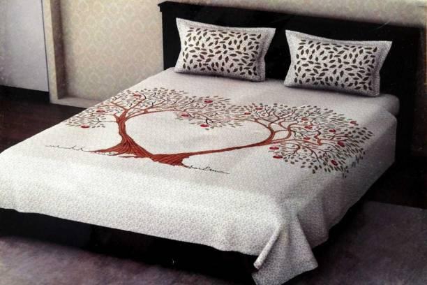 PVB 200 TC Cotton Double King Jaipuri Prints Bedsheet