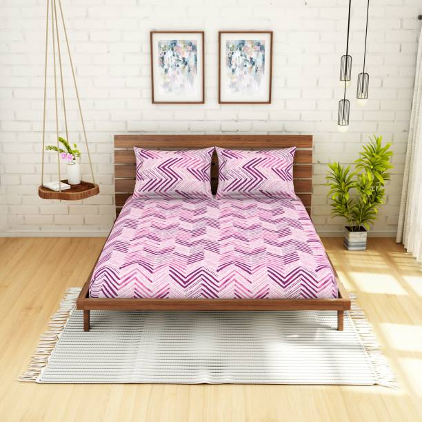 SPACES 104 TC Cotton Double Printed Bedsheet