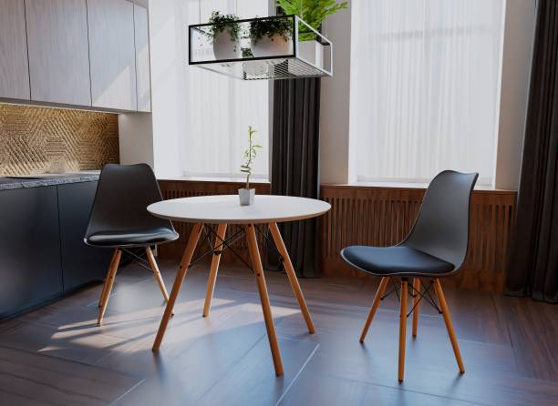 Uberlyfe 3 Pieces Dining Table Set w/ 2 Chairs Home Dining Room Kitchen Waiting Room Modern Round Table Mid-Century Dining Chairs with Padded Seat Wood Legs Black Engineered Wood 2 Seater Dining Set