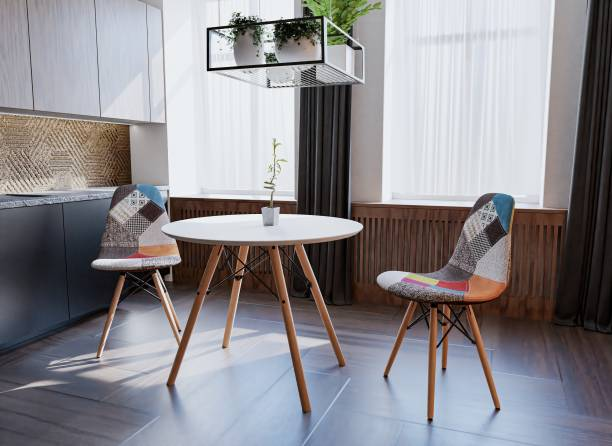 Uberlyfe 3 Pieces Dining Table Set w/ 2 Chairs Home Dining Room Kitchen Waiting Room Modern Round Table Mid-Century Dining Chairs with Padded Seat Wood Legs Patchwork Multicolor Engineered Wood 2 Seater Dining Set