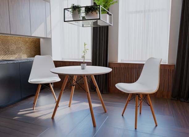 uberlyfe 3 Pieces Dining Table Set w/ 2 Chairs Home Dining Room Kitchen Waiting Room Modern Round Table Mid-Century Dining Chairs with Padded Seat Wood Legs White Engineered Wood 2 Seater Dining Set