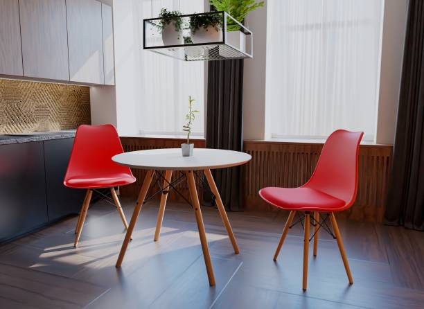 Uberlyfe 3 Pieces Dining Table Set w/ 2 Chairs Home Dining Room Kitchen Waiting Room Modern Round Table Mid-Century Dining Chairs with Padded Seat Wood Legs Red Engineered Wood 2 Seater Dining Set