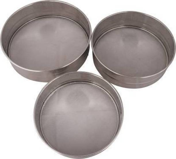 Blue Earth Stainless Still Flour Chalni,Spices,Food Strainers,Atta Chalni,Sieve pack of 3 Sieve
