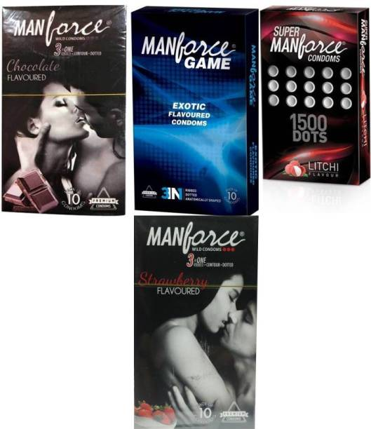 MANFORCE CHOCOLATE ,LITCHI 1500 Dotts,GAME 3-In-1 Ribbed-Dotted-Contoured-Exotic ,Strawberry Condom
